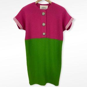 Vintage Steve Fabrikant Pink + Green Knit Dress